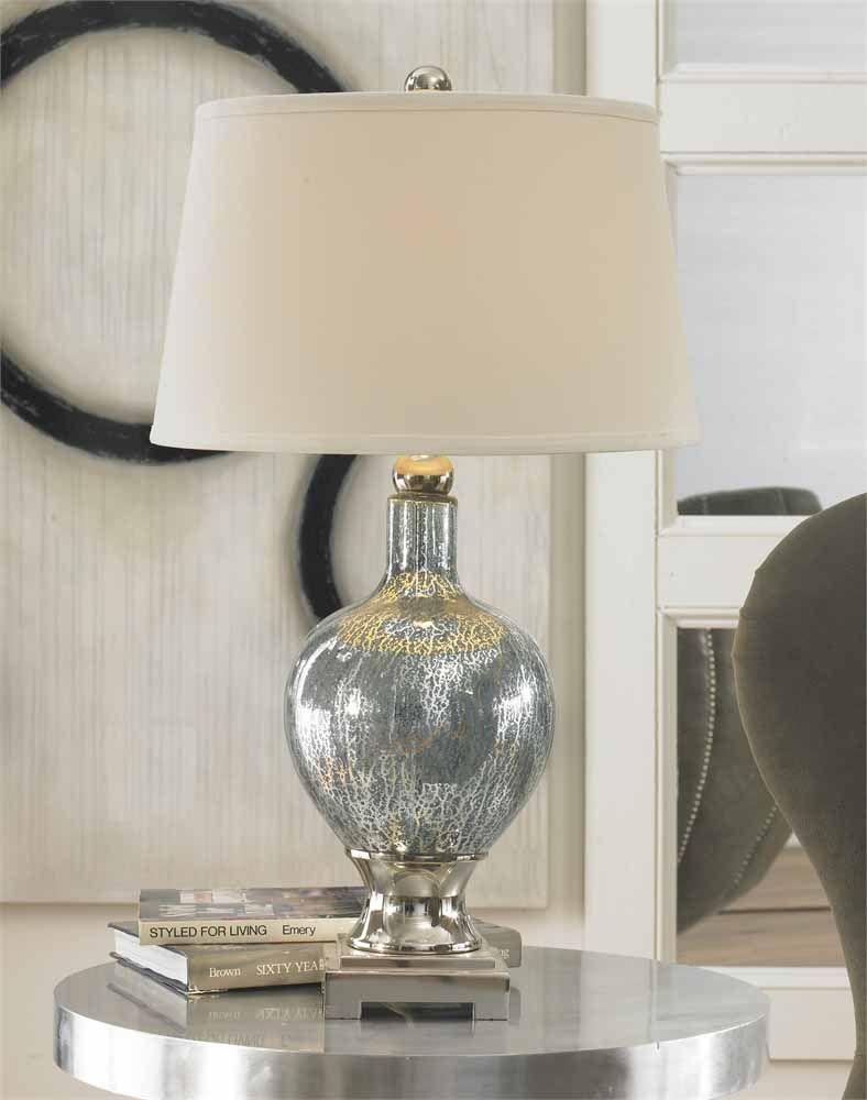 Mercury Blue Glass Table Lamp Home Decor Accessories
