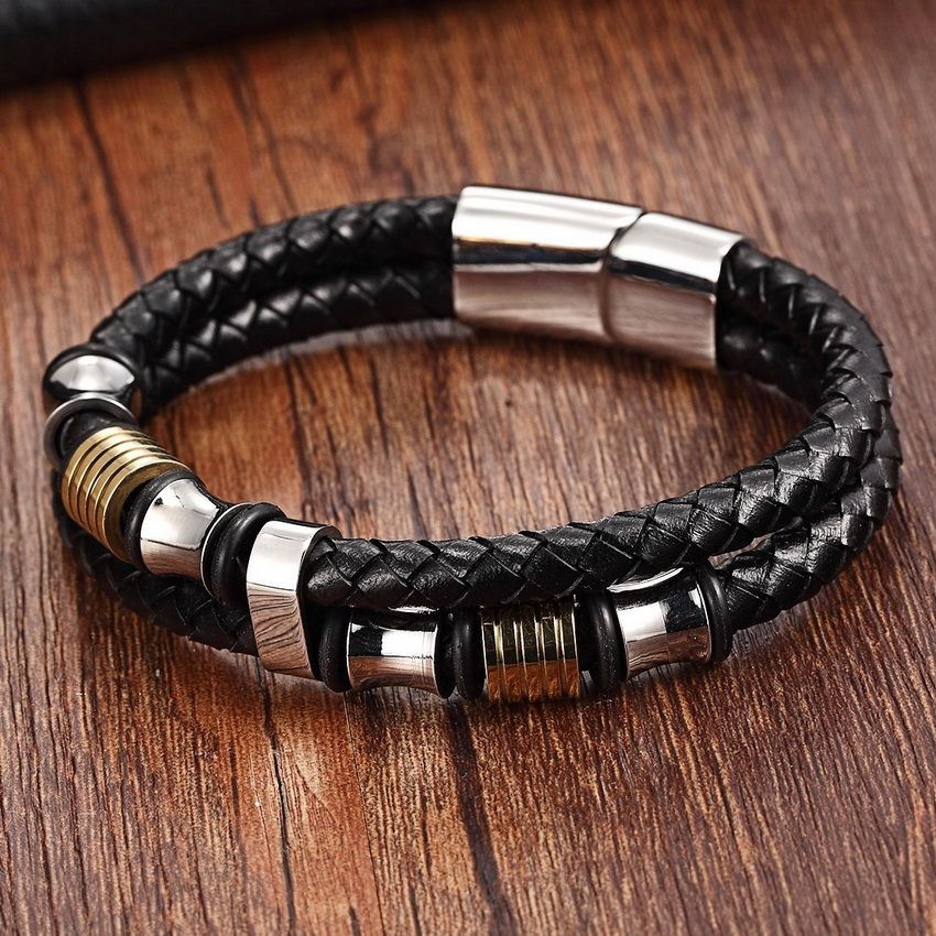"""OPK Men/'s 8/"""" Stainless Steel Wheat Multilayer Braided Leather Bangle Bracelet US"""