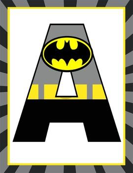 SUPER HERO - Classroom Decor: BATMAN Banner LETTERS | Print..., 11 ...
