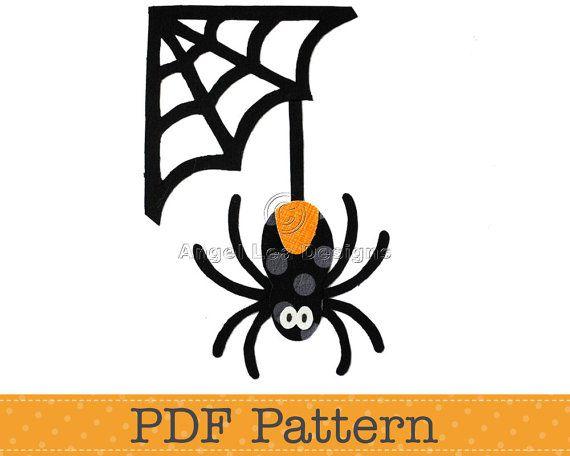 Spider and Web Applique Template. Halloween Applique Designs. PDF ...