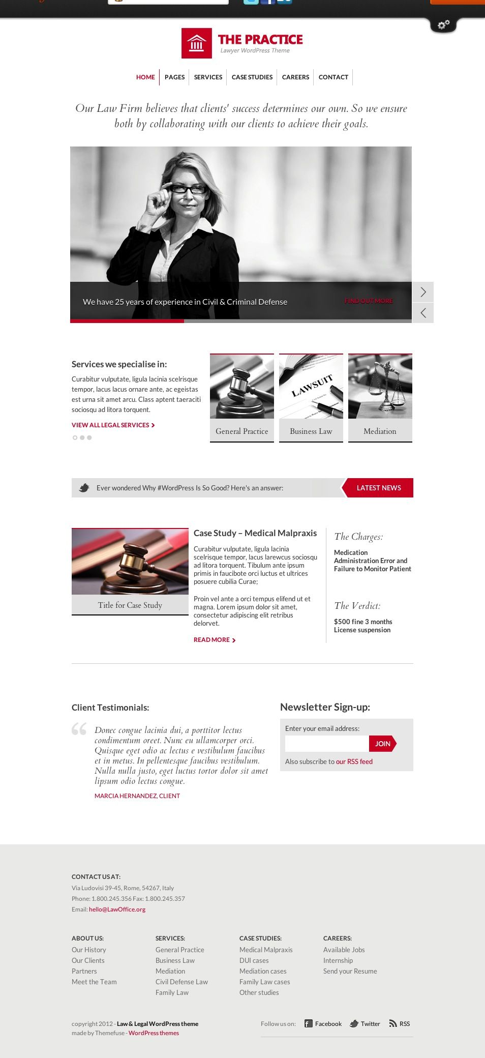 The Practice premium WordPress template. Like how able to feature photos in black and white on homepage. Also like how able to highlight latest work