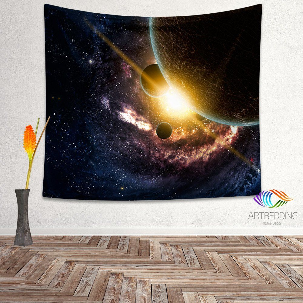 Galaxy Tapestry, Fantasy planet wall tapestry, Galaxy tapestry wall hanging, Galaxy home decor, Stars wall art print