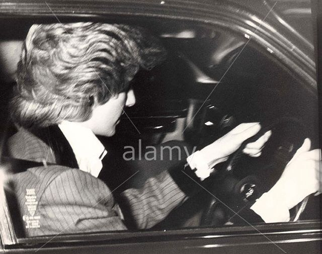 December, 1985:  Princess Diana drives herself from Kensington Palace to Windsor for Christmas.