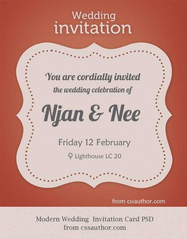 Attirant DeviantArt: More Like Modern Wedding Invitation Card PSD For Free By  Cssauthor