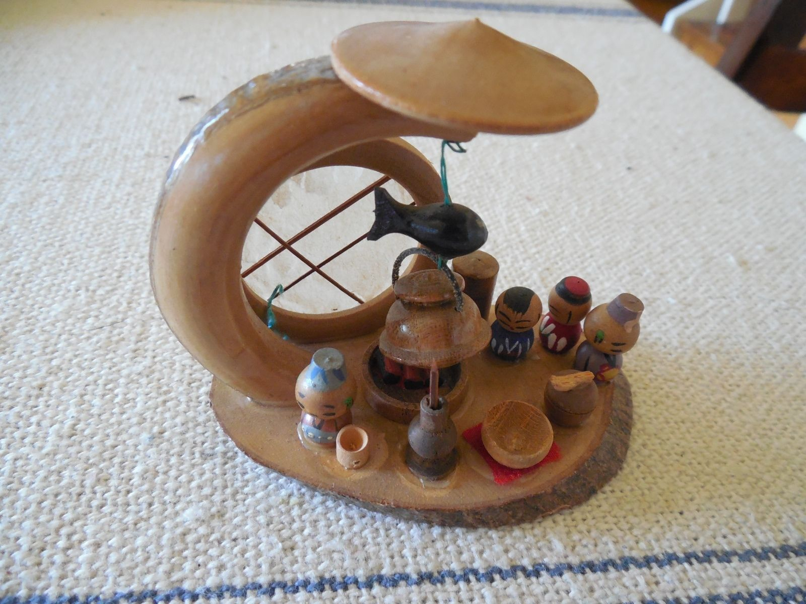 Vintage Miniature Kokeshi Doll Cooking Scene