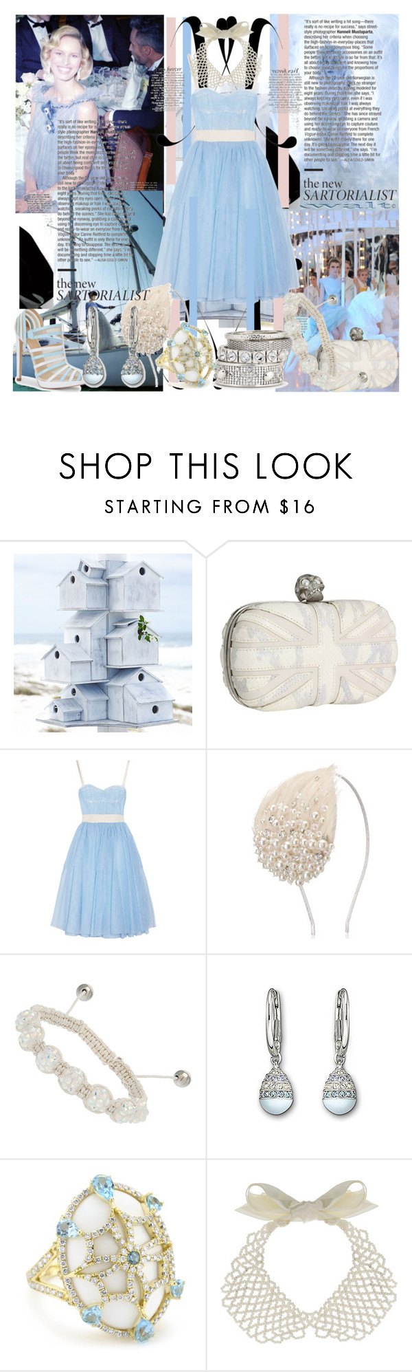 """""""""""Oceanic blue"""",dreams"""" by caramelpz ❤ liked on Polyvore featuring KAROLINA, Alexander McQueen, D&G, Versus, Monsoon, Swarovski, Miss Selfridge and Mixit"""