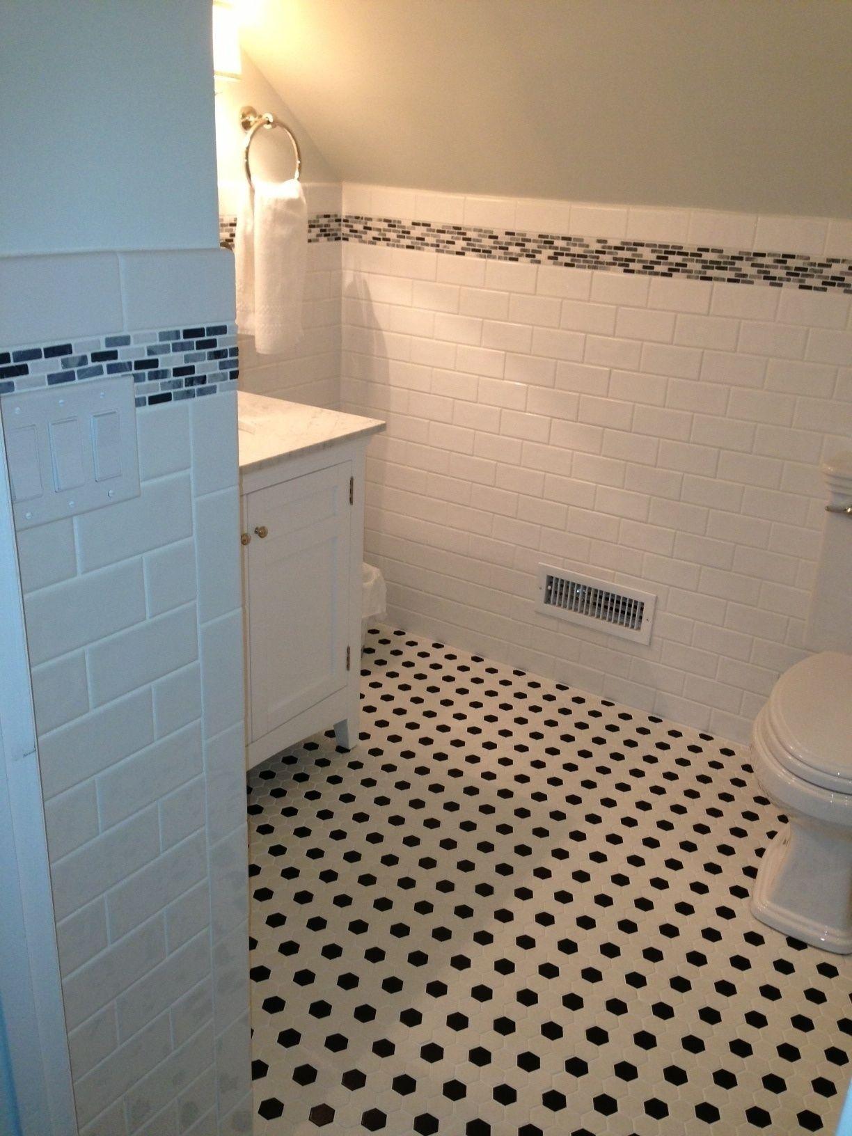 Love this! White tile shower, White hexagon tiles