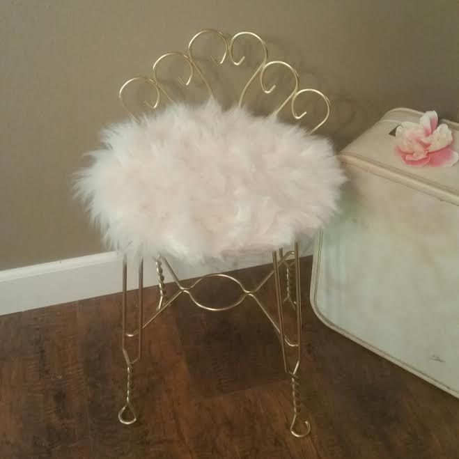 Vintage Metal Vanity Chair Bathroom Stool Painted Boudoir Makeup ...