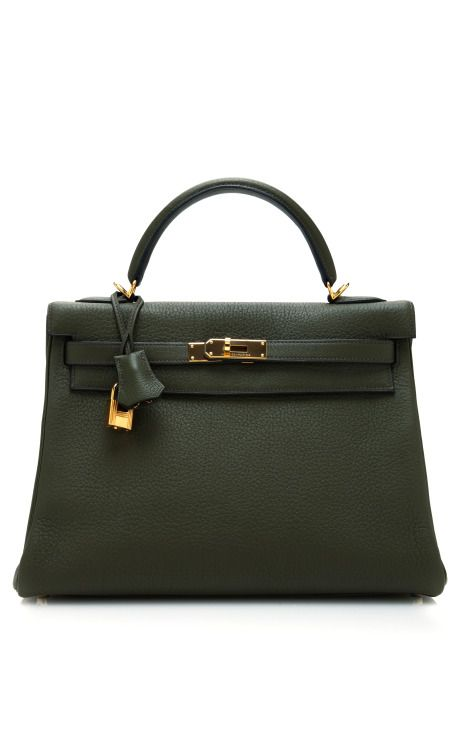 Hermes 32Cm Vert Olive Clemence Leather Retourne Kelly by Heritage Auctions Special Collections - Moda Operandi