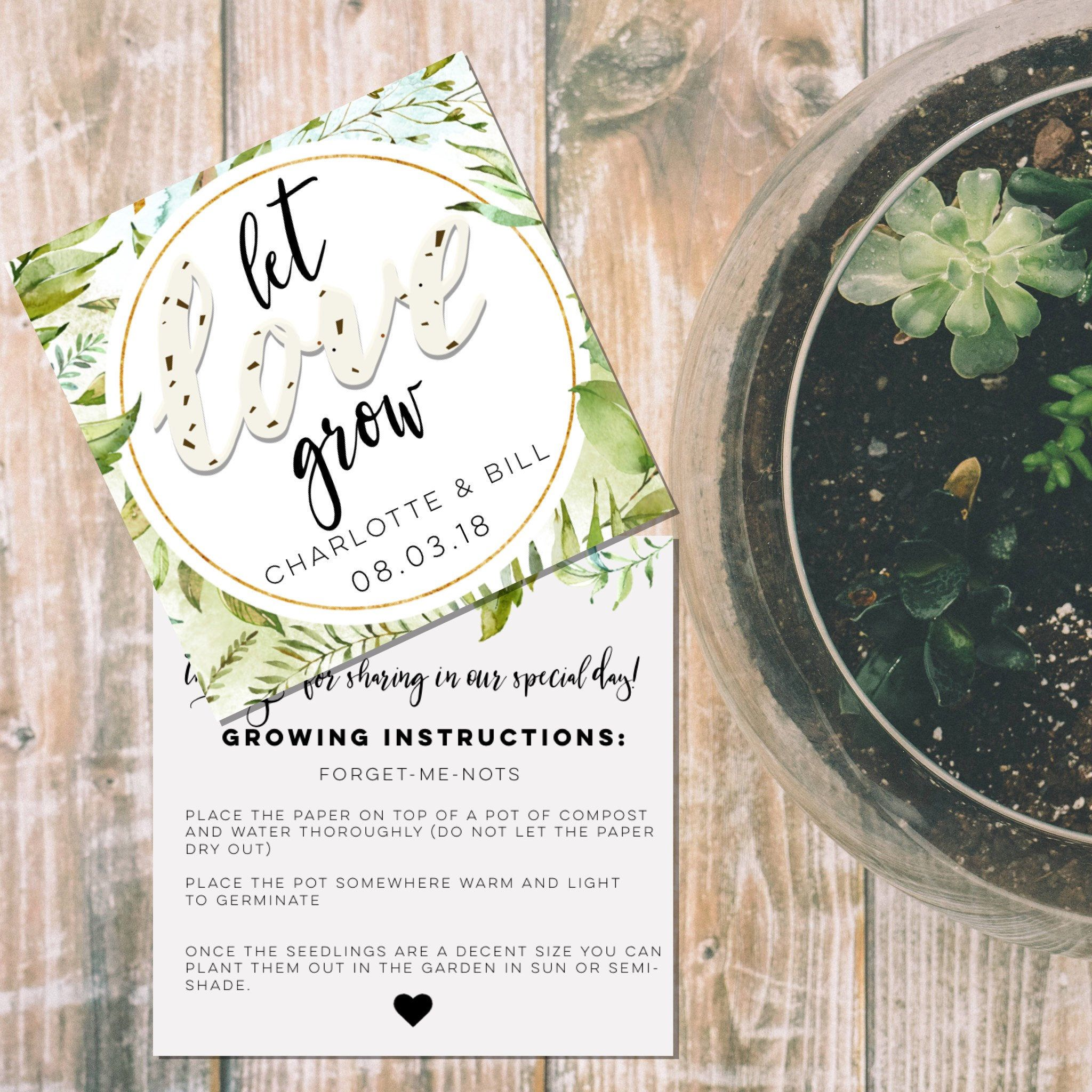 Plantable heart seed packets-plantable paper wedding favors ...