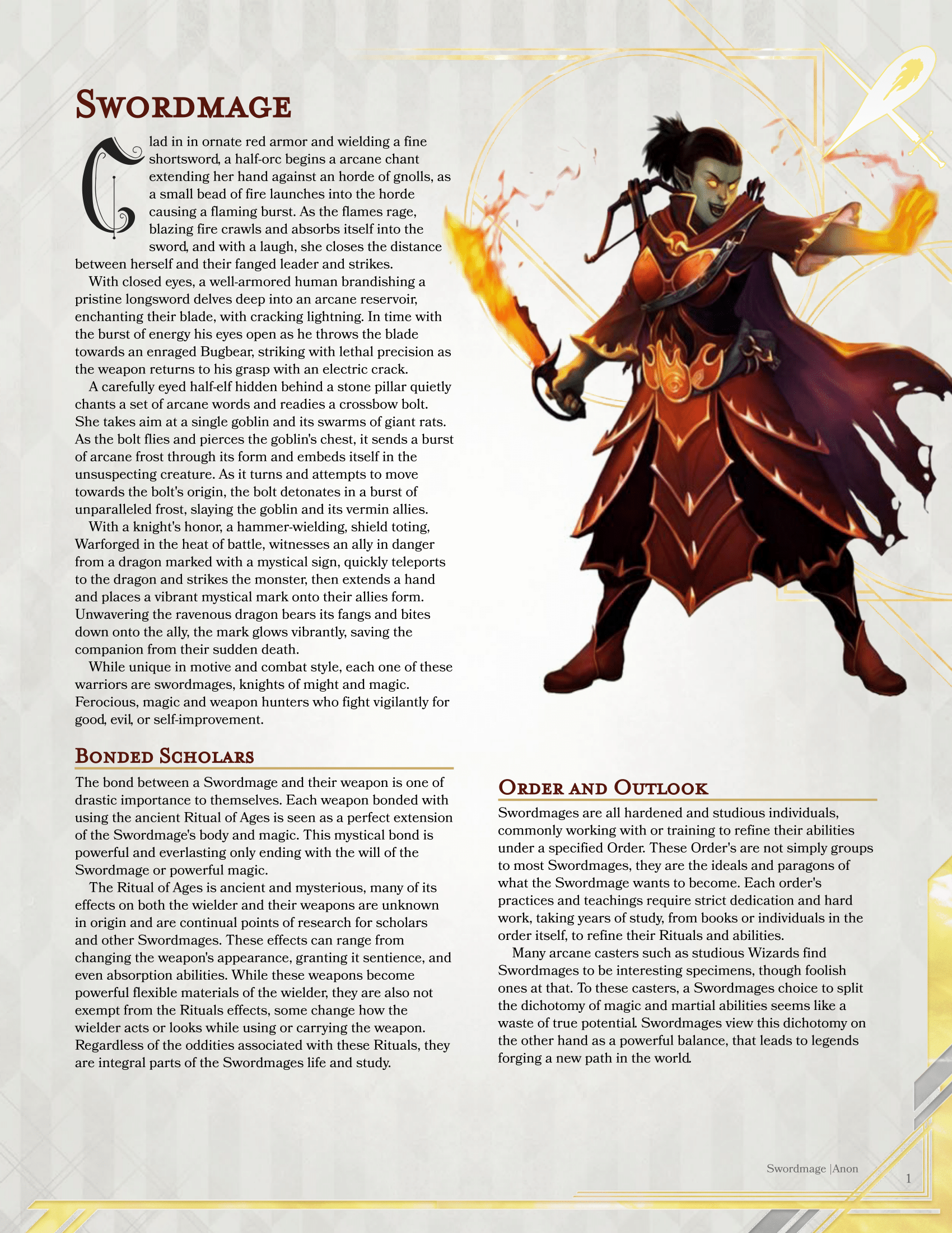 Swordmage 5e homebrew Class for D&D 5e with NPCs and 5