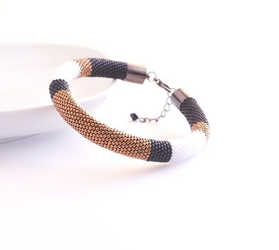 Bronze Black Bangle, Beaded Bracelet, Color Block Modern Geometric Bangle, Minimal Bronze Bracelet, Minimalist Style, Black White Bangle