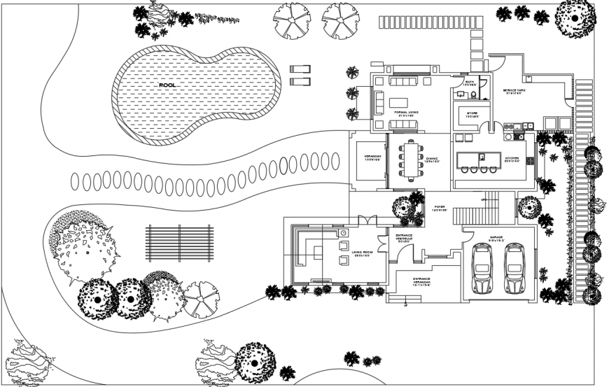 Villa project sample house layout plan in dwg AutoCAD file