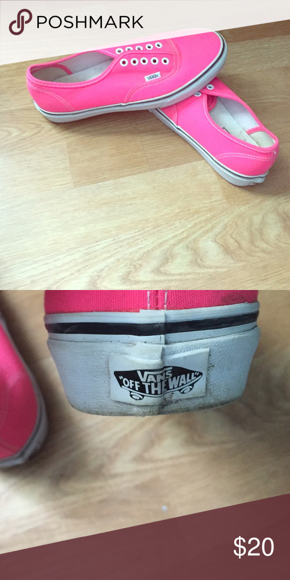 NWOT HOT PINK VANS NO LACES New hot pink vans. I'm willing to go a little lower because of no laces and minor cleanup. I've waterproofed them also. Great condition Vans Shoes Flats & Loafers