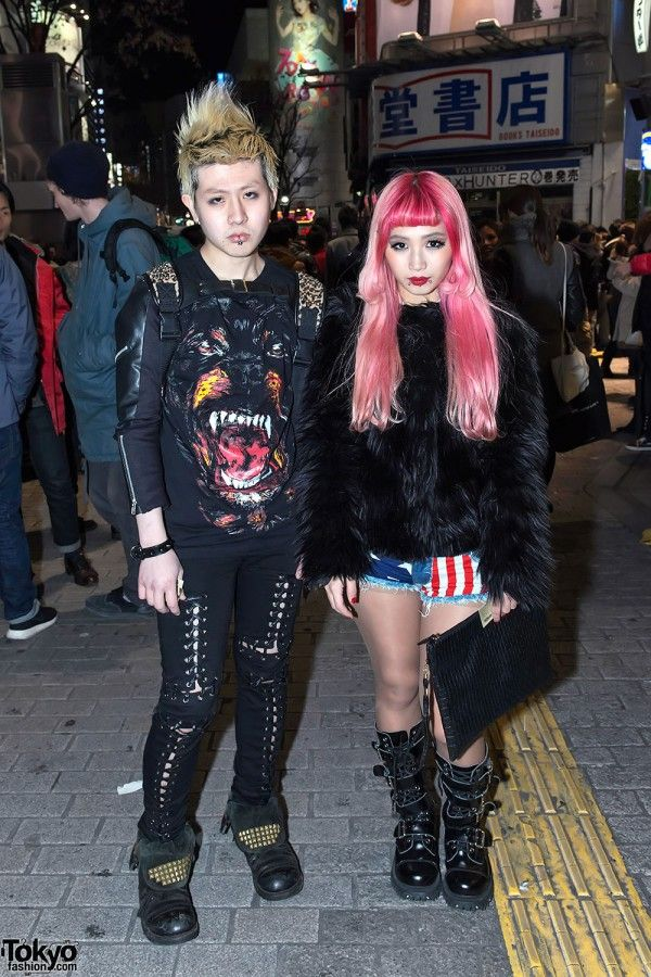 c8aa9bfdae6 Two stylish Tokyoites in  Shibuya on New Year s Eve. On the left (w  a  Givenchy Rottweiler top) is Equador