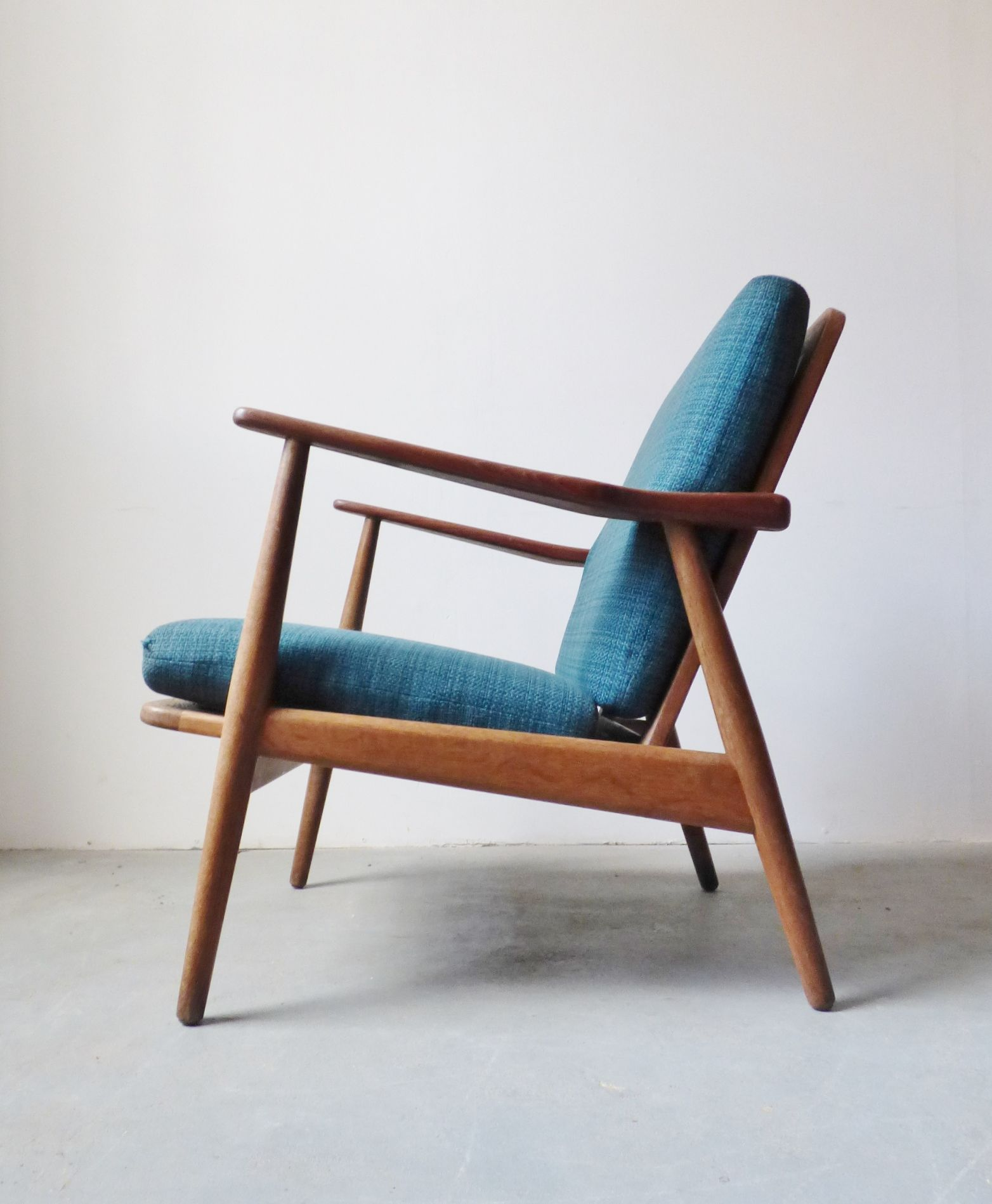 Mid Century Danish Teak Lounge Chair With Blue Cushions Teak Lounge Chair Toddler Desk And Chair Mid Century Danish Furniture