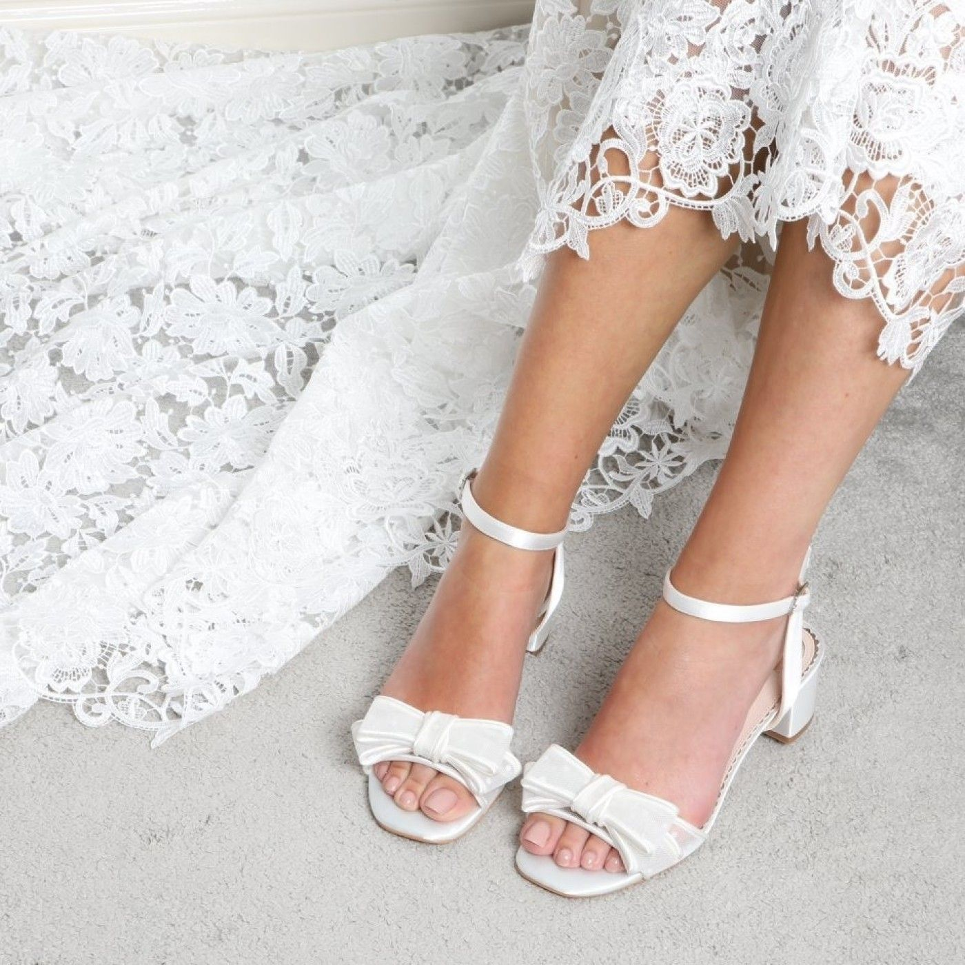 Perfect Bridal Chloe Ivory Polka Dot Mesh Low Block Heel