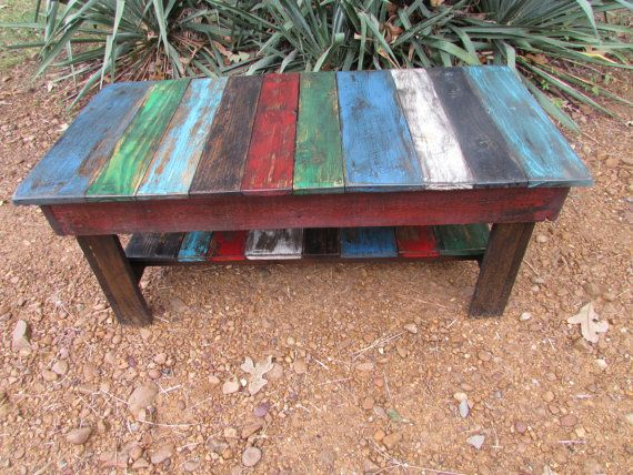 Rustic Multi Colored Distressed Coffee Table By Serenevillage Https Www Etsy