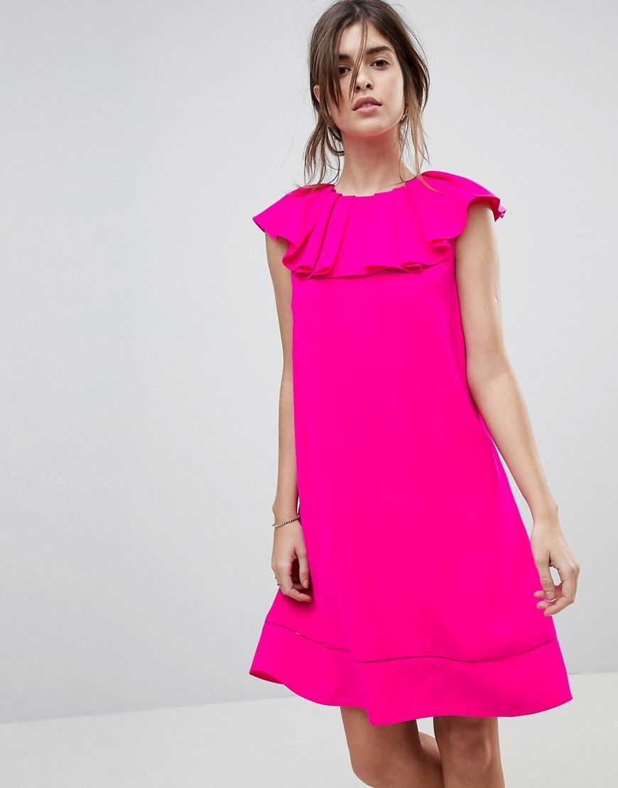 a0226d763cfc62 TED BAKER CLAREES SHIFT DRESS WITH RUFFLE NECKLINE - PINK. #tedbaker #cloth  #