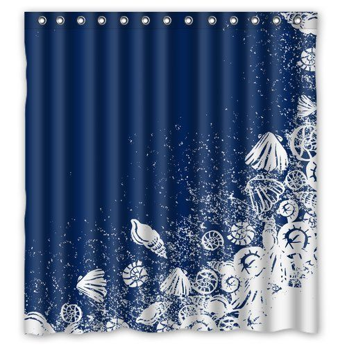 Navy Coral Anchor Shower Curtain   Anchor shower curtains, Coral ...