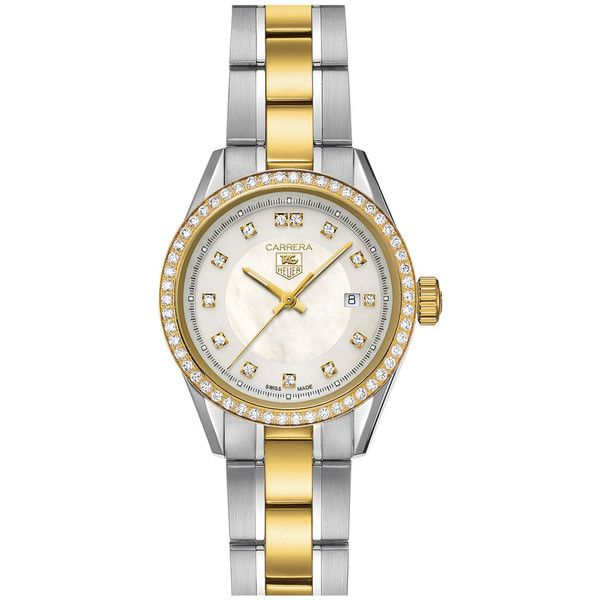 TAG Heuer 'Carrera' Diamond Two Tone Watch (19.429.355 COP) ❤ liked on Polyvore featuring jewelry, watches, dot jewelry, diamond watches, diamond wrist watch, polka dot watches and two-tone watches