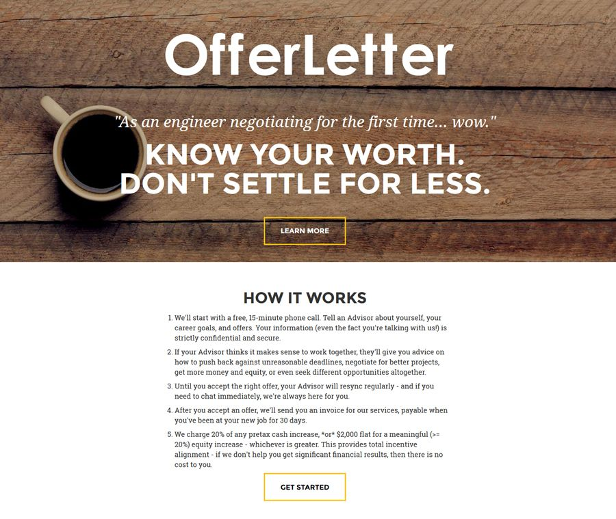 After youve been offered the job use offerletter to help