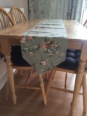 New-Table-Runner-Sage-Green-Floral-Country-248X30cm-Dining-Summer-BBQ-Kitchen