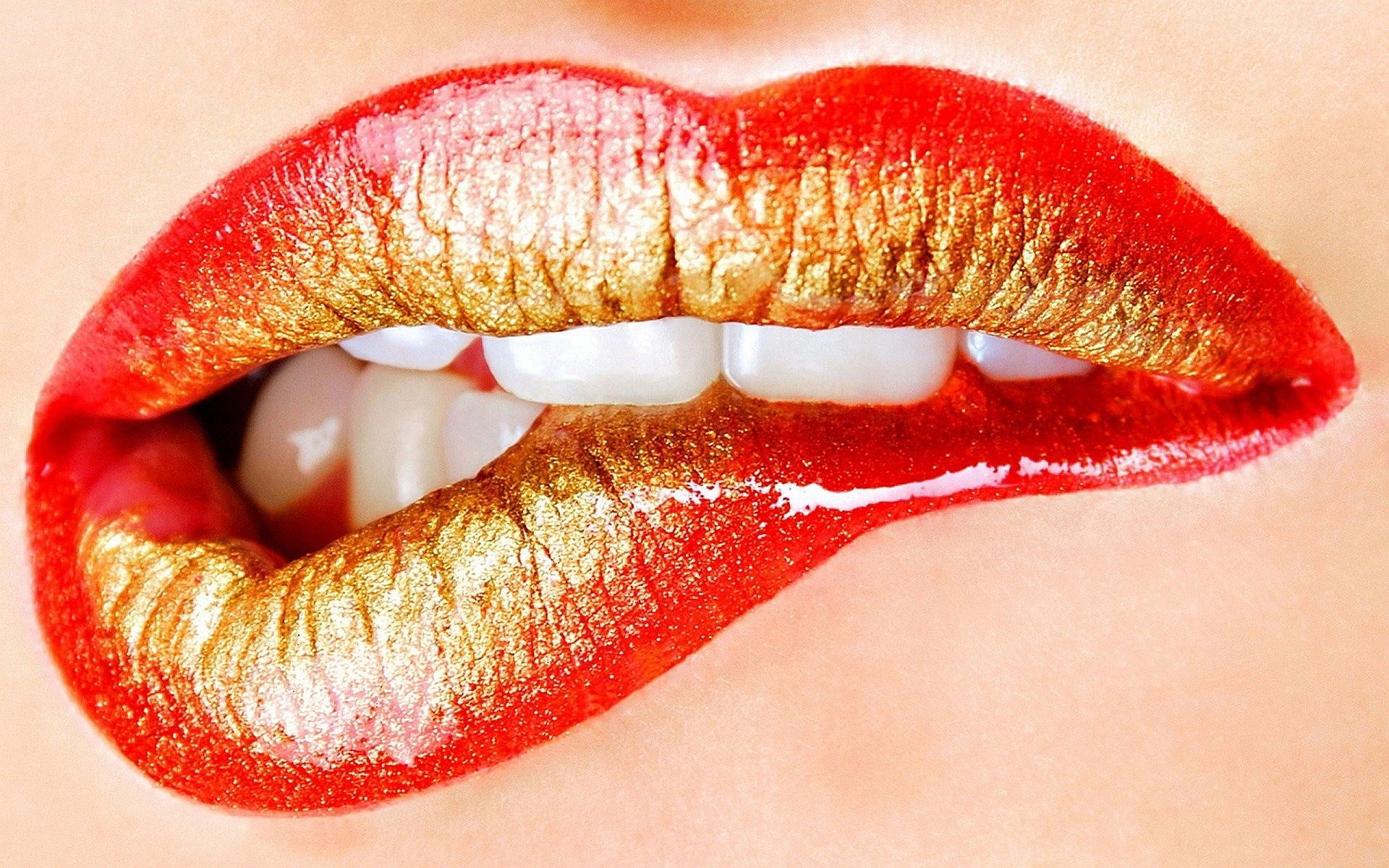 lips Red Gold Lips Wallpapers s