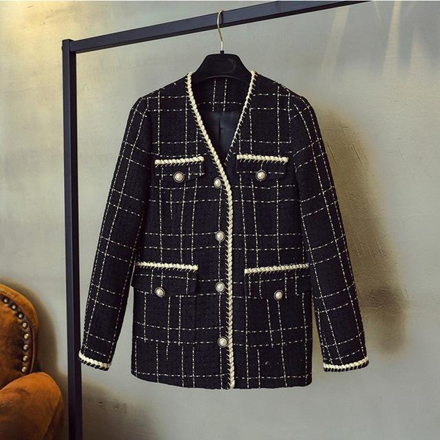 Designer Brand Wool Blends Coat For Women Fashion Black Vintage V Neck Coat Fashion Ladies Vintage Clothing Black Fashion