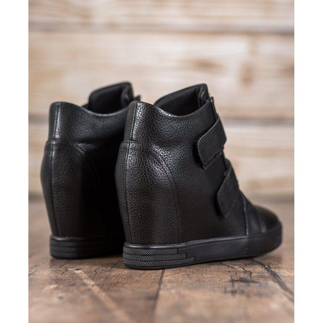 Sergio Leone Sneakersy Z Eko Skory Czarne Biker Boot Boots Shoes