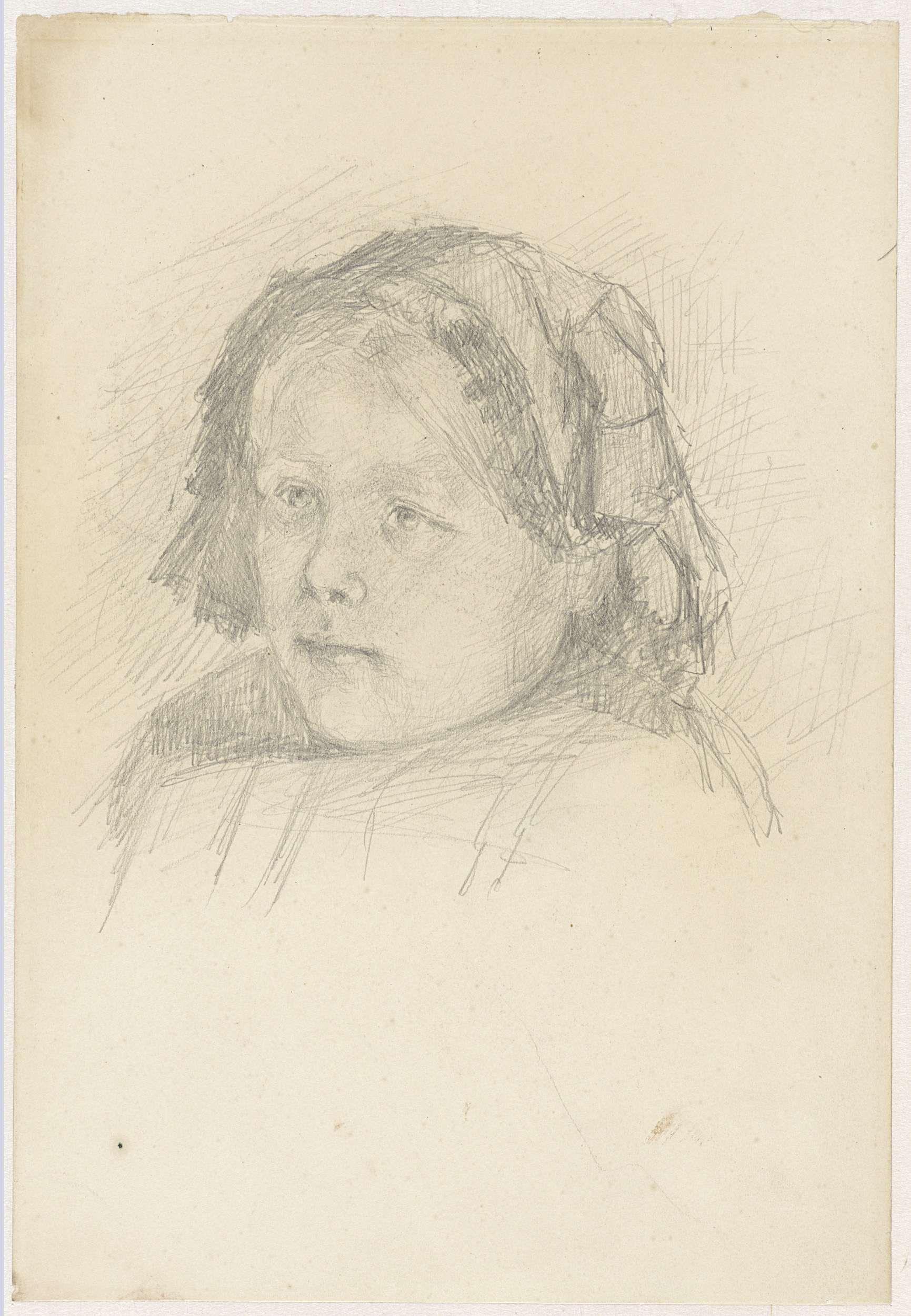 Jozef Israëls | Meisjeshoofd met kapje, Jozef Israëls, 1834 - 1911 |