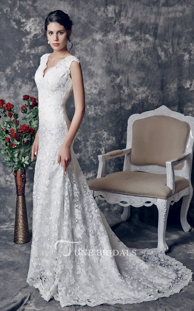 1920 wedding dress  us Vintageinspired Vshaped Back Cutout Brush Train Trumpet