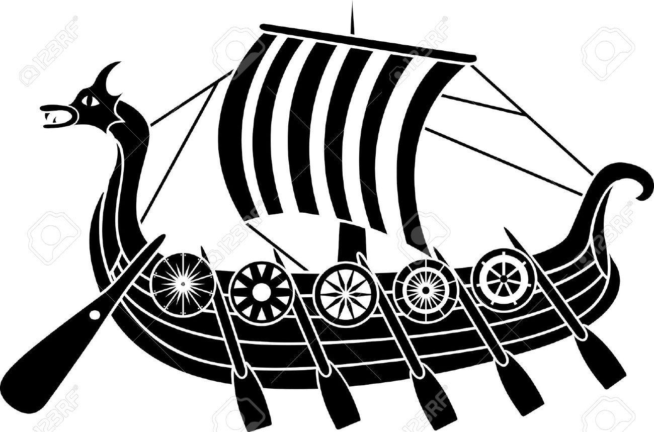 Ancient Vikings Ship With Shields Stencil Viking Ship Viking Ship Tattoo Viking Art