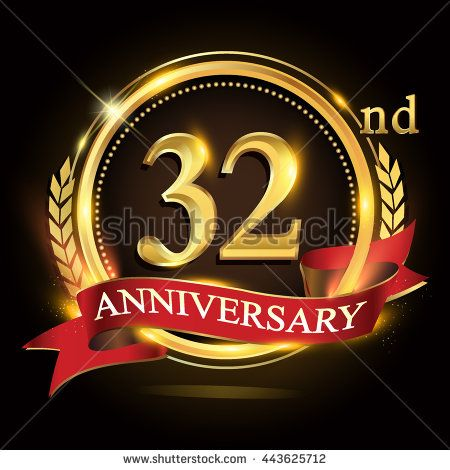 32nd Golden Anniversary Logo 32 Years Celebration With Ring And Red Ribbon