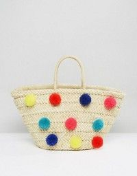 Glamorous draw beach hand bag with oversized Pom poms  Style fashion accessories