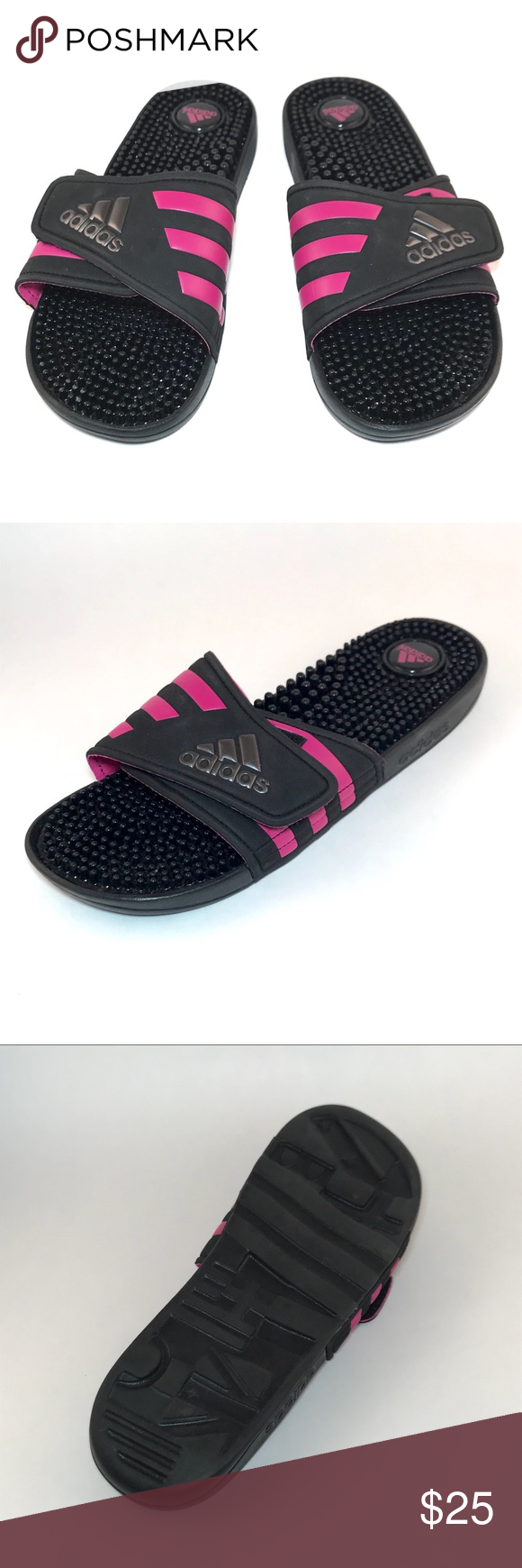 137aa203c52  adidas  black and pink Adissage slides Stylish black sandals with pink  details. Logo design on uppers. Textured balance. Excellent used condition.