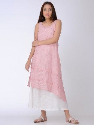 Pink-Ivory Embroidered Layered Cotton Dress