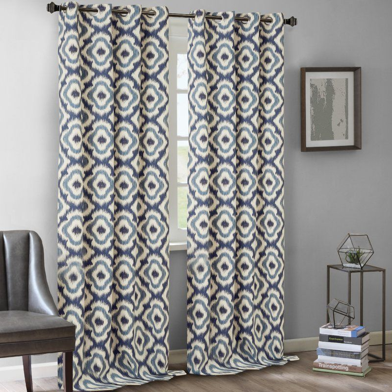Wilson Cotton Ikat Semi Sheer Grommet Single Curtain Panel Curtains Living Room Modern Contemporary Living Room Curtains