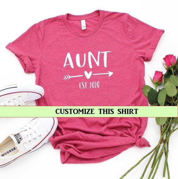Aunt Est 2020, aunt shirt, baby announcement, reveal to aunt, aunt gift, shirt for aunt, pregnancy announcement, aunt, auntie, custom aunt