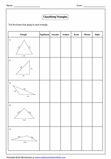 Classifying Triangles Triangle Worksheet Triangle Math Math Geometry