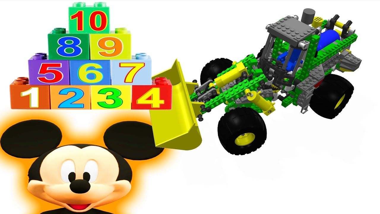 Numbers Song Kids Toy Lego Backhoe Digger and Mickey Mouse superhero