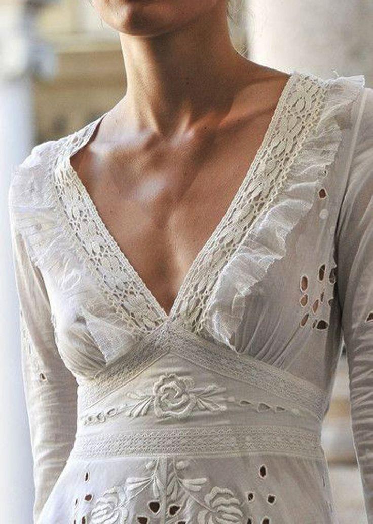 Vintage V Neck Cotton Eyelet Embroidered Lace Broderie Anglaise Wedding Dress Design Idea Umla
