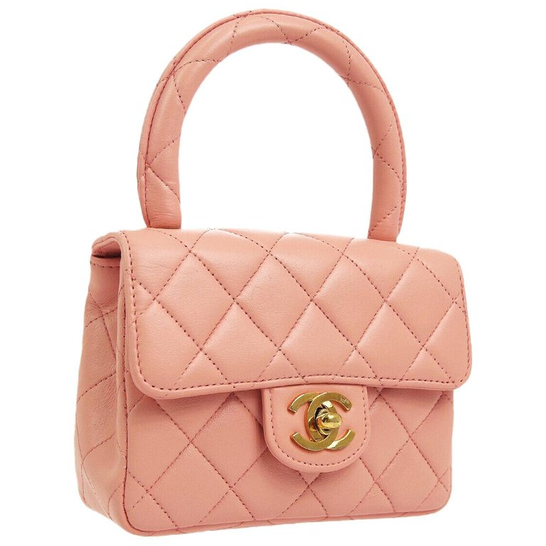 Chanel Pink Leather Mini Kelly Small Party Evening Top Handle Satchel Flap Bag Chanel Bag Fall Handbags Purses