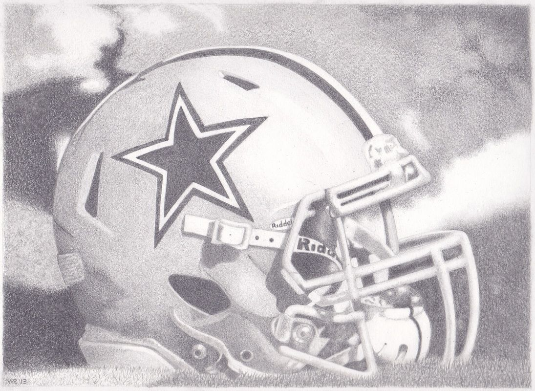 8x10 Dallas Cowboys Helmet Graphite Drawing pencilart