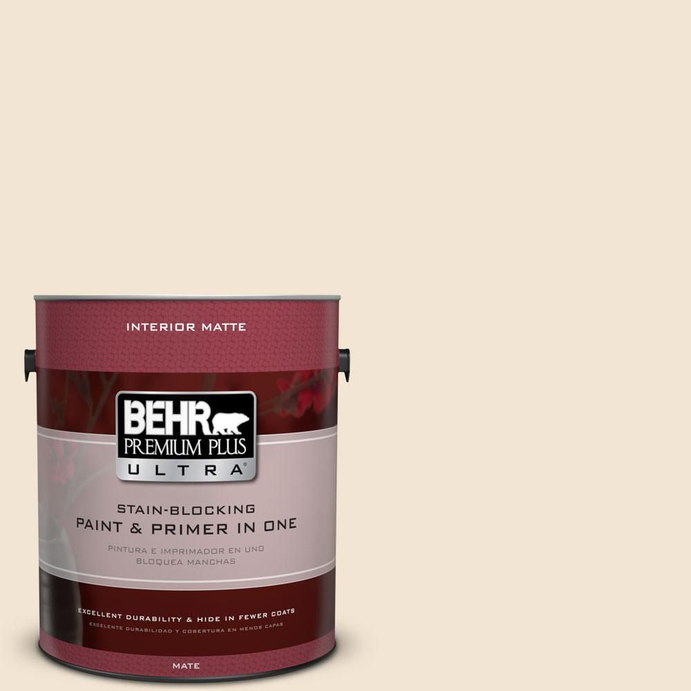 BEHR Premium Plus Ultra 1 gal. #S300-1 French Creme Matte Interior Paint, French Crème