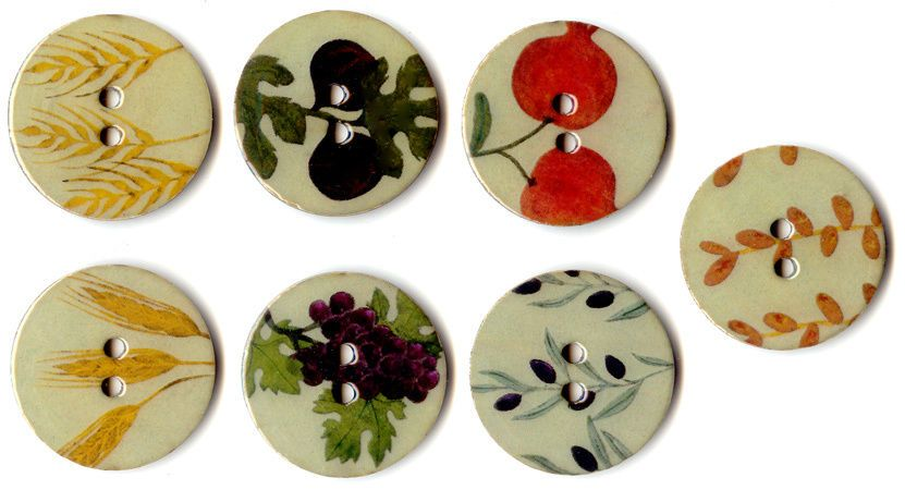 button buttons seven species holy sukot sukoth jewish fabr ic knitting gift wood