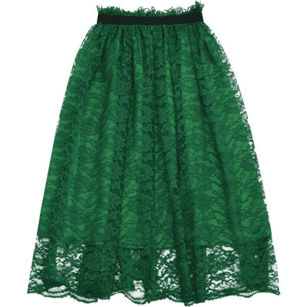 Ruffle Hem Lace Flare Skirt ($18) ❤ liked on Polyvore featuring skirts, skater skirt, flared skirts, lacy skirt, lace skater skirt and green circle skirt
