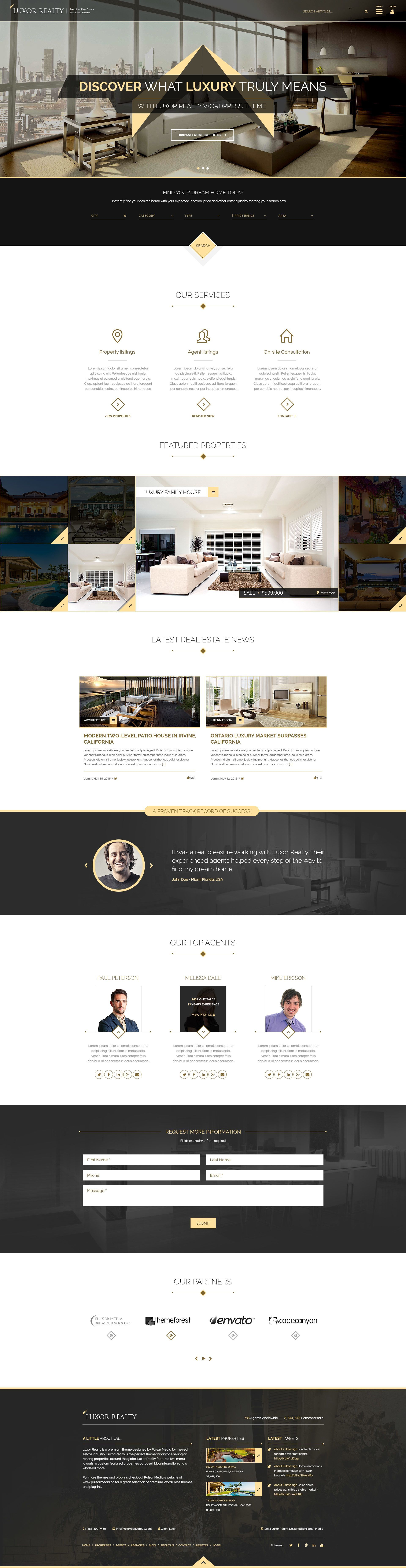 Luxor Is A Premium Real Estate Wordpress Theme Designed For The Real