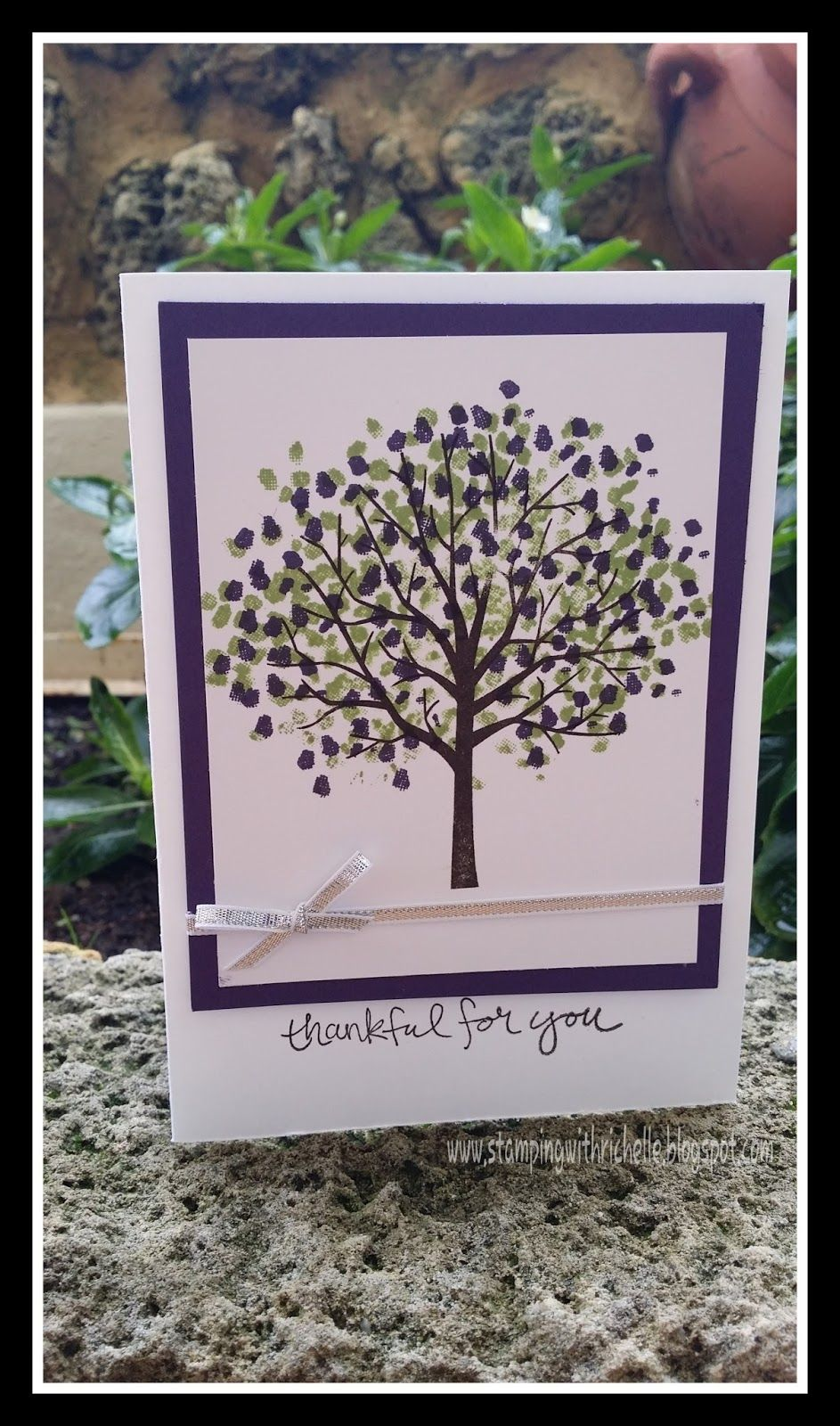 hand crafted card from Stamping With Richelle ... dlike the ink colors on this Sheltering Tree ... Stampin' Up!