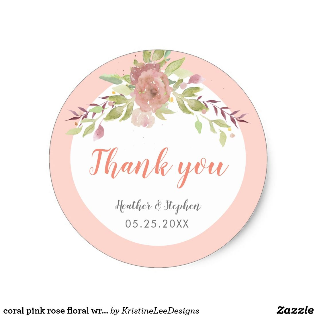 Wedding Customized Stickers Pink Floral Roses Flowers Birthday Party #079 Labels Thank You Stickers